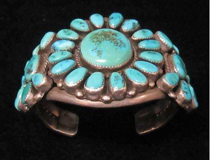Navajo, dead pawn, sterling silver, cluster bracelet 1