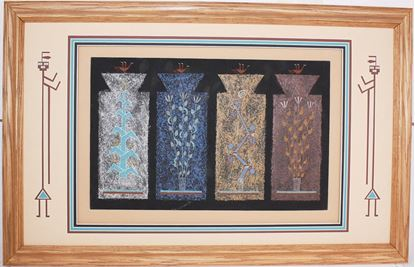 "Picture of Navajo sand painting Joe Ben ""4 sacred plants"""