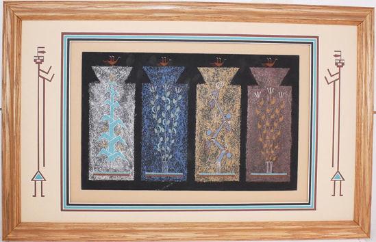 "Picture of Navajo sand painting Joe Ben ""4 sacred plants"""