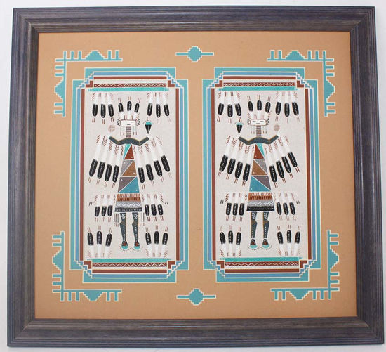 "Picture of Navajo Double Sand Painting  ""Female Yei be Cheis"" by Navajo artist Rosabelle Ben"